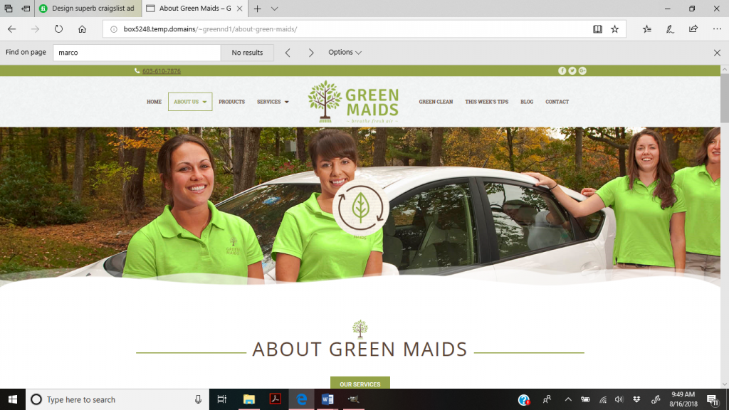 Green Maids Cleaning website